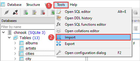 SQLite Import csv to table Step 1