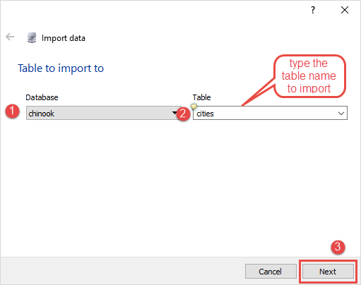 SQLite Import csv to table Step 2
